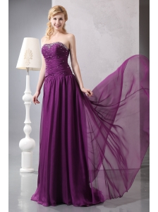 New Purple Empire Strapless Beading Mother Of The Bride Dress Brush Train Chiffon