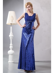 Pretty Royal Blue Column Straps Mother Of The Bride Dress Ankle-length Sequin