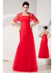 Pretty Red Column Strapless Homecoming Dress Tulle Rush Floor-length
