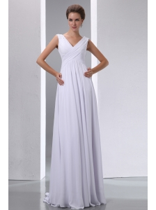 Pretty White Empire V-neck Beading and Ruch Junior Prom Dress Floor-length Chiffon