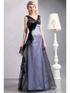Romantic Black Column V-neck Hand Made Flower Mother Of The Bride Dress Floor-length Organza