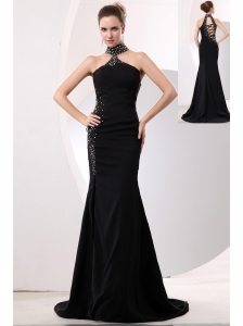 Sexy Black Mermaid High-neck Evening Dress Brush Train Taffeta Beading