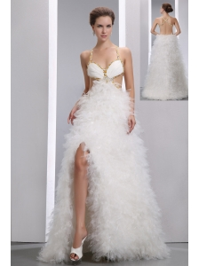 Sexy White A-line Spaghetti Straps Beading Prom Dress Floor-length Organza