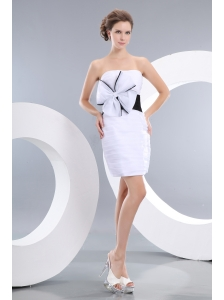 Sexy White Prom / Cocktail Dress Column Strapless Bowknot Mini-length Taffeta