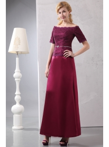 Simple Mother Of The Bride Dress Burgundy Column Off The Shoulder Ankle-length Taffeta and Lace