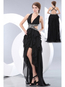 Special Black Empire V-neck High-low Evening Dress Chiffon Beading