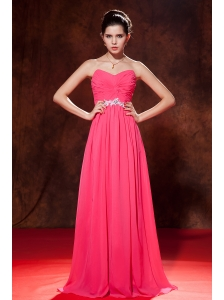 Sweet Coral Red Empire Sweetheart Homecoming Dress Chiffon Beading Floor-length