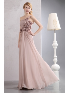 Unique Light Pink Empire Prom Dress One Shoulder Hand Made Flowers Floor-length Chiffon