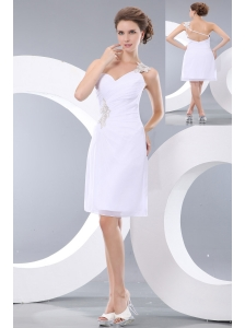 Affordable White Column Short Prom / Homecoming Dress One Shoulder Mini-length Chiffon Appliques