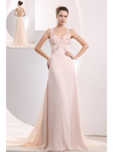 Beautiful Light Pink Prom / Evening Dress Empire Straps Appliques Watteau Train Chiffon