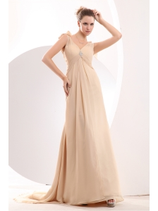 Cheap Champagne Empire V-neck Beading Mother Of The Bride Dress Brush Train Chiffon