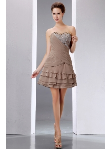Elegant Brown A-line Short Prom Dress Strapless Mini-length Beading and Sequins Chiffon