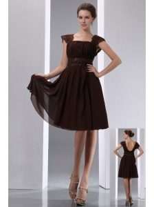 Gorgeous Brown A-line Square Beading Mother Of The Bride Dress Knee-length Chiffon