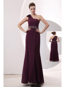 Gorgeous Burgundy Empire One Shoulder Beading Mother Of The Bride Dress Floor-length Chiffon