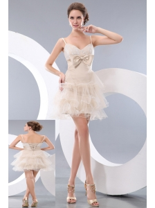 Luxurious Champagne A-line / Princess Straps Bowknot Short Prom / Homecoming Dress Mini-length Organza