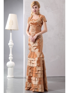 Modest Brown Column Prom Dress Straps Taffeta Beading Floor-length