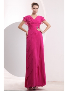 Modest Hot Pink Empire V-neck Prom DressChiffon Beading Floor-length