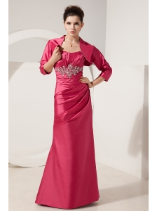 Perfect Hot Pink Column Beading Mother Of The Bride Dress Strapless Floor-length Satin