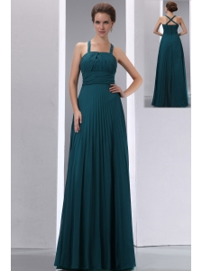 Pretty Peacock Green A-line Straps Pleat Mother Of The Bride Dress Floor-length Chiffon