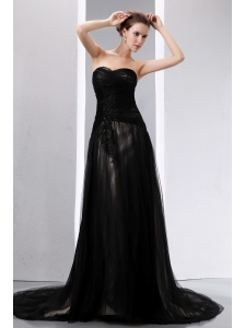 Sexy Black Empire Sweetheart Mother Of The Bride Dress Court Train Tulle