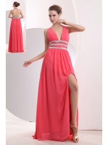 Sexy Watermelon Red Prom / Evening Dress Halter Brush Train Chiffon Beading Empire