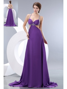 Sexy Purple Prom / Evening Dress Straps Brush Train Elastic Woven Satin Beading Empire