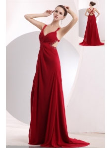 Sexy Wine Red Empire Straps Prom / Evening Dress Brush Train Chiffon Beading