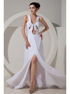 Sexy White Prom Dres Wide Straps Brush Train Chiffon Beading and Ruch Column / Sheath