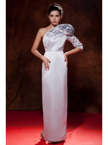 Unique Lilac Column / Sheath Prom Dress One Shoulder Satin Hand Made Flower Floor-length