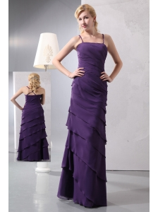 Unique Dark Purple Column Straps Prom Dress Floor-length Chiffon Ruffled Layers