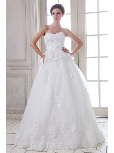 Beautiful A-line Sweetheart Brush Train Tulle Beading and Appliques Wedding Dress