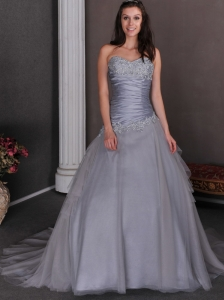 Beautiful Grey Wedding Dress A-line Sweetheart Court Train Taffeta and Tulle Appliques
