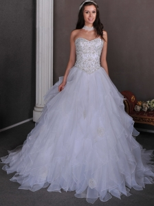 Beautiful Wedding Dress A-line Sweetheart Beading and Ruffles Chapel Train Organza