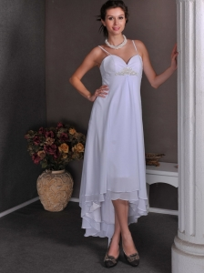 Beautiful White Empire Beach Wedding Dress Spaghetti Straps High-low Chiffon Beading