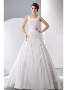 Elegant A-line Scoop Wedding Dress Taffeta Appliques Chapel Train