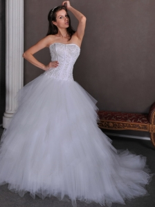Elegant A-line Strapless Appliques Ball Gown Wedding Dress Chapel Train Satin and Tulle