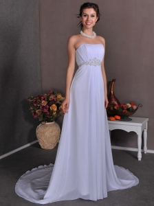 Elegant Empire Strapless Beach Wedding Dress Court Train Chiffon Appliques