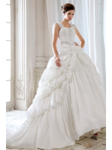 Low Price Princess Straps Beading and Appliques Ball Gown Wedding Dress Court Train Taffeta