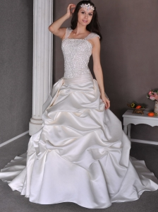 Romantic A-line Straps Beach Wedding Dress Chapel Train Taffeta Appliques and Pick-ups
