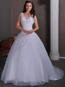 Simple A-line V-neck  Ruch and Beading Wedding Dress Court Train Taffeta and Tulle