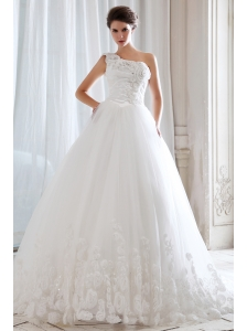 Unique Princess One Shoulder Beading and Appliques Ball Gown Wedding Dress Court Train Tulle