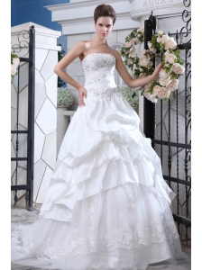 Affordable A-line Strapless Beading and Appliques Wedding Dress Court Train Organza