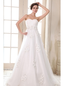 Affordable Wedding Dress A-line Sweetheart Beading and Appliques Brush Train Taffeta
