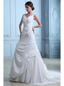 Beautiful A-line V-neck Ruch and Appliques Wedding Dress Court Train Taffeta