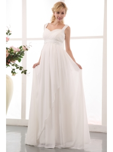 Beautiful Empire Straps Maternity Wedding Dress Brush Train Chiffon Beading