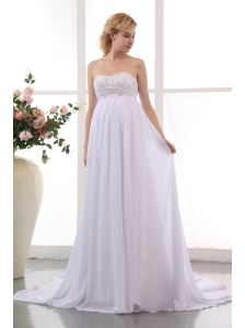 Beautiful Empire Sweetheart  Beading Maternity Wedding Dress Chapel Train Chiffon