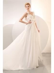 Beautiful Empire V-neck Beading Plus Size Wedding Dress Court Train Chiffon