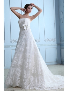 Beautiful Wedding Dress A-line Strapless Court Train Lace Sash