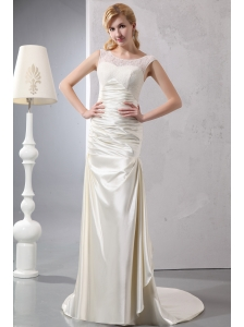 Beautiful Wedding Dress Column Scoop Court Train Satin Lace