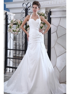 Best A-line Halter Wedding Dress Taffeta Ruch Court Train